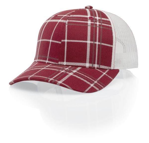 1ae1033abf4 114 Plaid Twill Trucker Mesh Adjustable Hat by Richardson Caps