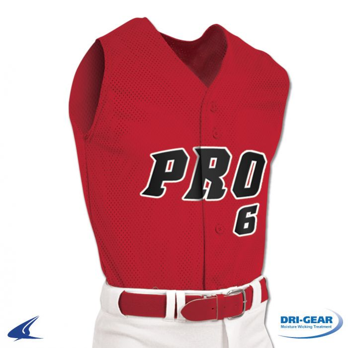 f6d76bc41 Pro Mesh Full Button Sleeveless Baseball Jersey by Champro Sports ...