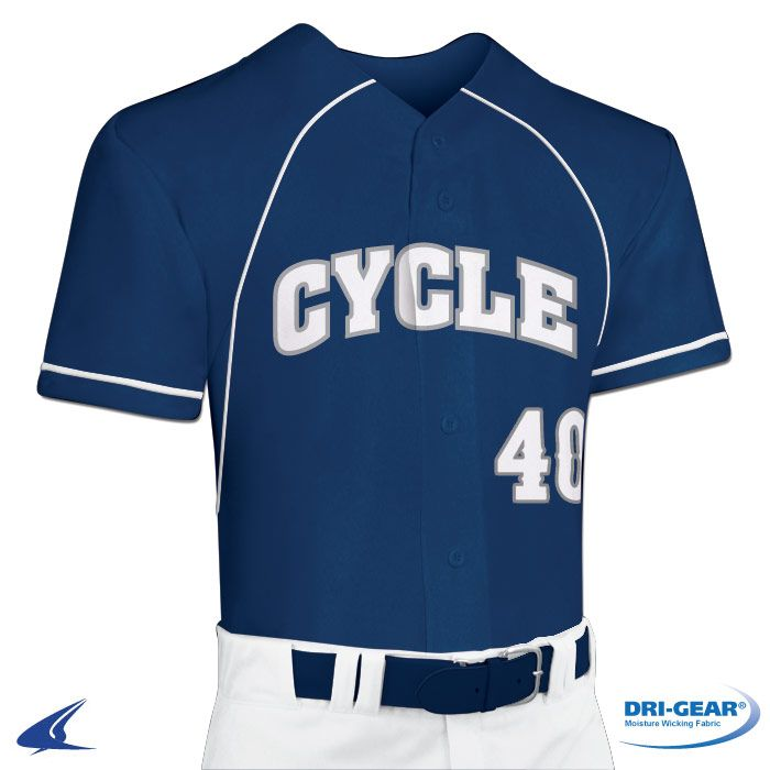 773fa4631 Cycle Full Button Faux DRI-GEAR  Baseball Jersey by Champro Sports Style  Number  BS40