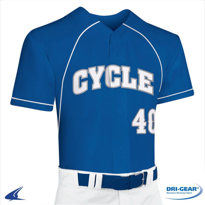 5dbf3c526 Cycle Full Button Faux DRI-GEAR  Baseball Jersey by Champro Sports ...