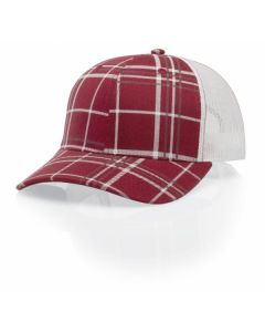 114 Plaid Twill Trucker Mesh Adjustable Hat by Richardson Caps