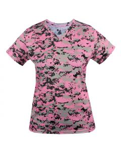 Ladies Digital Camo V-Neck Performance Jersey by Badger Sport Style Number 4186