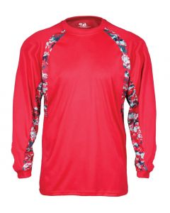 Digital Camo Hook Long Sleeve Performance Shirt by Badger Sport Style Number 4155