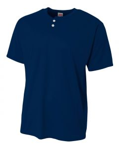 Mesh 2-Button Henley Jersey by A4 Sportswear N4130