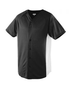 Youth Full Button Performance Color Block Baseball Jersey by Augusta Sportswear Style Number 544