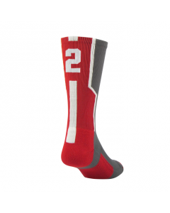Player ID Number Socks by TCK Graphite-Red-White