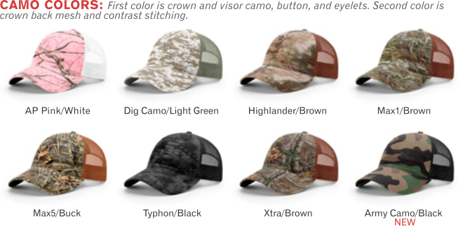 111P Garment Washed Camo Printed Trucker Mesh Adjustable Hats by Richardson  Cap Fit  Adjustable Snapback 5aae9321a57d