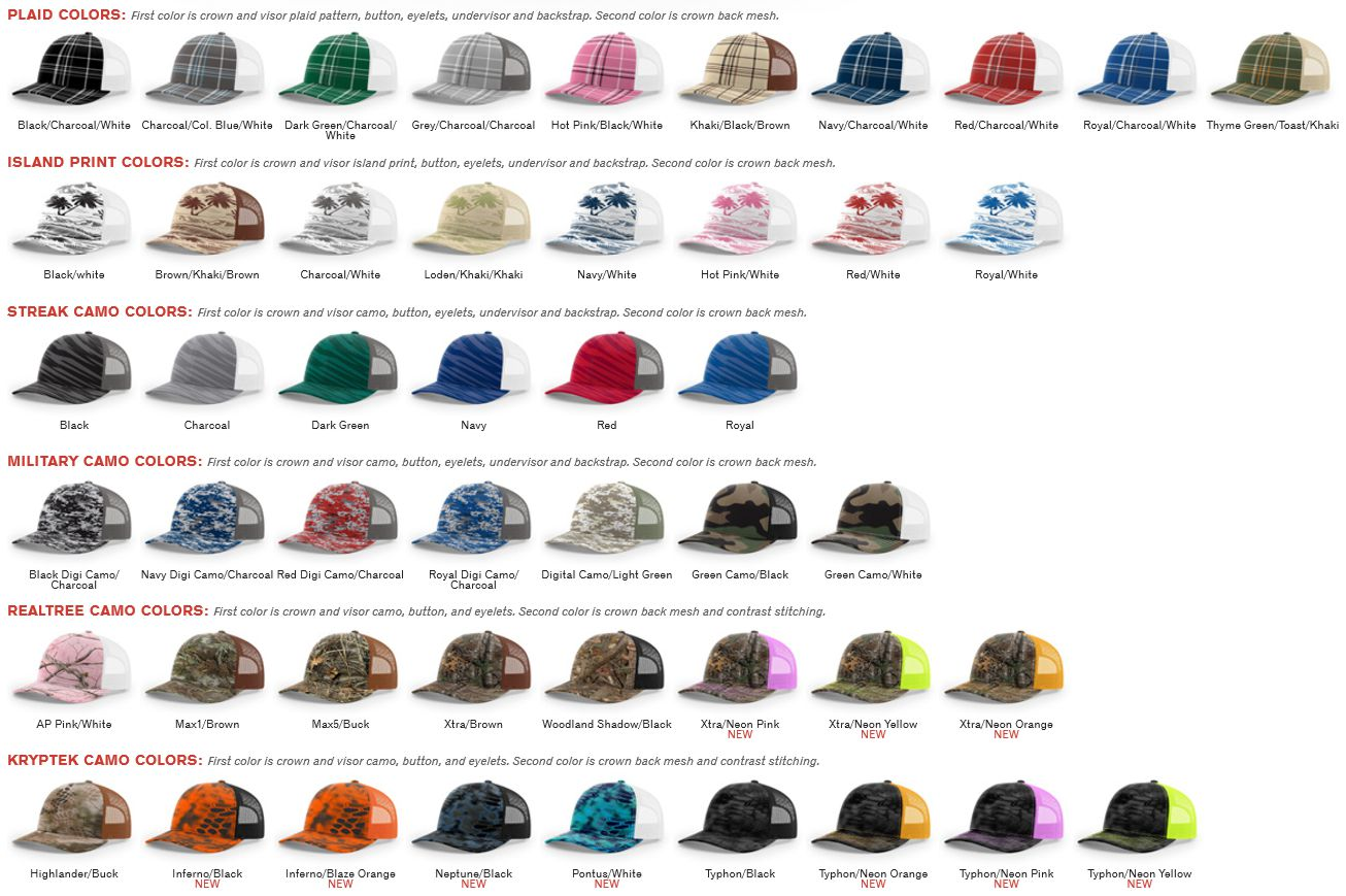 338c69fba9c 112P Printed Tucker Mesh Adjustable Hat by Richardson Cap Fit  Adjustable  Snapback - Shape