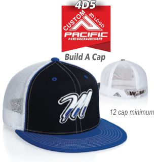 72a67978 Buy 4D5 Flat Bill Fitted Hat by Pacific Headwear with CUSTOM 3D LOGO  Embroidery Special.