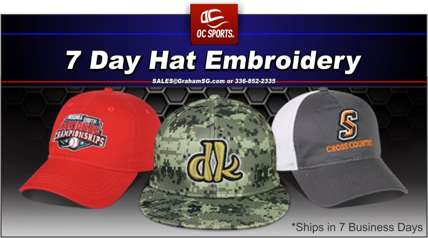 "BUY TEAM AND CORPORATE HATS. 7 DAY EMBROIDERY ON HATS. DETAILS:Stock Lettering Pricing  - 1-3 Letters 1-2 Colors - $3.50   - add 3D Embroidery + $1.75  Stock Word Pricing  - 1-3 Lines of wording - 1-2 colors - $3.75   -add 3D Embroidery - +$1.75 - One Line of Wording on Side of Cap- +$1.75 - One Line of Wording on Back of Cap- +$1.75   Stock NameDrop Designs, Mascots and Sports Icon Pricing  - Stock Name Drop Designs, Mascots and Sports Icons- $5.60   - add 3D Embroidery - + $1.75  - Team Mascots or Sports Icons on back or side of cap- +$2.00   Individual Player Number Pricing Available in 1"" Flat Stitch, 1 Color, Plain Block Lettering on back of the cap. (Allow 2 additional production days for #'s)  - Numbers on back of hat- $4.00. Custom Domestic Embroidery  Custom Team Program Details - Minimum Order 12 pieces per style/color/logo/thread color - Pricing less then 48 per style/color/logo thread color, add $1.25 for flat stitch, or add $1.75 for 3D to the stock embroidery pricing. - Shipping: Ship 7 business days. Add 3 business days for orders 288+.   Custom Corporate Program - Minimum order 48 each per style/logo/thread color. no set-up charges apply.  - Custom Logo Pricing: $4.25 - Back or Side logo: +$1.75 - Add 3D Embroidery: $1.75  - Shipping: Ship 7 Business day after approval of emailed sample. Add 3 business days for orders of 720+. STOCK TEAM EMBROIDERY Minimum Order: 12 pieces per style/color/logo/thread color  Delivery: Ships within 7 Business days after purchase. Custom embroidered orders will ship within 7 business days after approval of emailed sample. Add 2-3 business days if blank caps are not in inventory in Bentonville, AR or for orders of 144 pieces or more. Orders received after noon EST Monday-Friday will be entered into production next business days.  IT''S EASY! JUST FOLLOW THESE STEPS.  1. CHOOSE YOUR HEADWEAR STYLE 2. CHOOSE NAME DROP 3. SUPPLY THE TEXT 4. PICK COLORS 5. CHOOSE YOUR MASCOT/ICON"