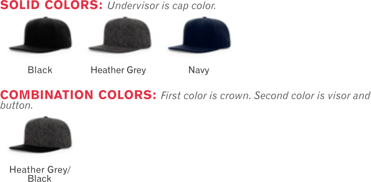 921 Melton Wool Strapback Hat by Richardson Cap Shape  Hi-Pro Structured -  Fabric 59d82dd8539
