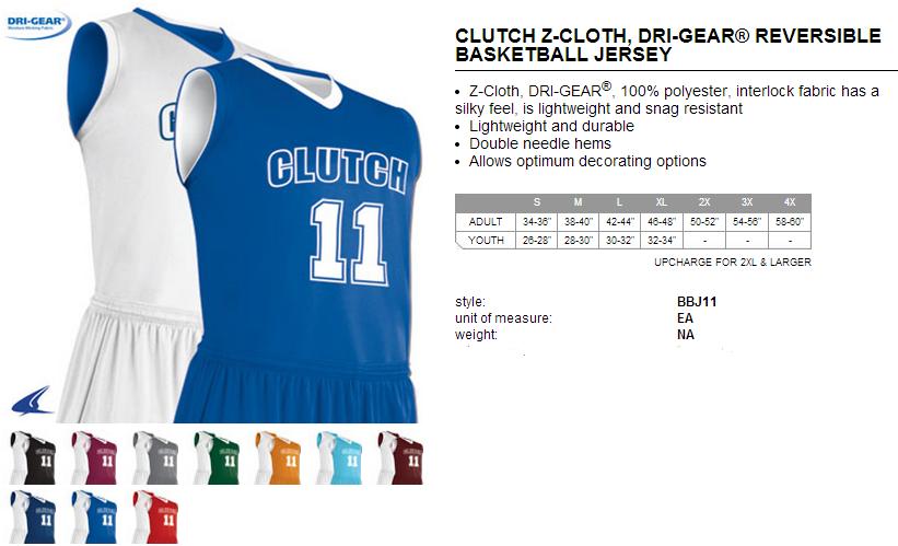 af7fcf07123 Buy Clutch Z-Cloth Dri Gear Reversible Basketball Jersey by Champro Sports  Style Number BBJ11