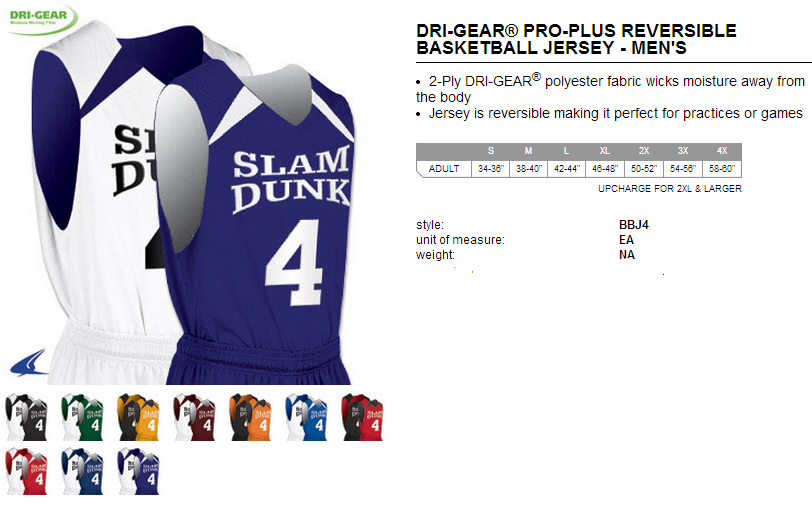b325a5af88a6 Buy Dream Dri-Gear® Reversible Game Basketball Jersey by Champro Sports  Style Number