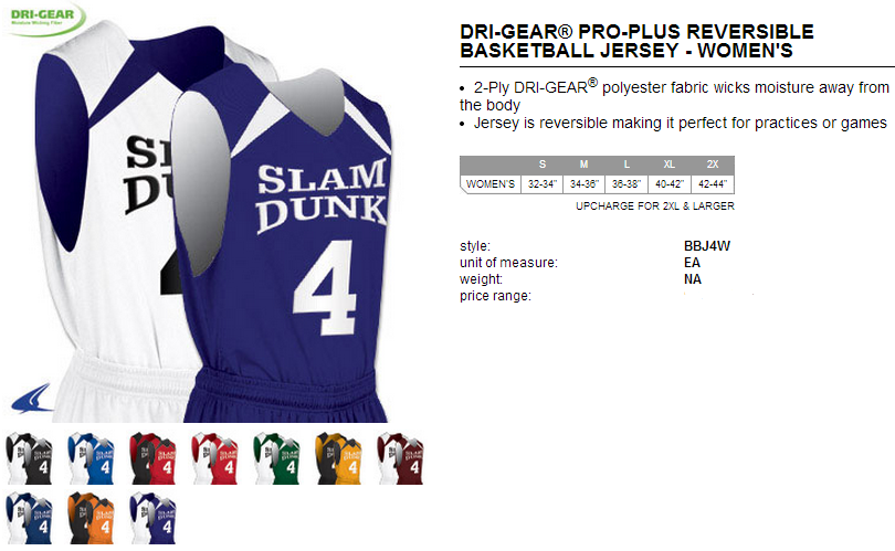 d86d2ff3d Buy Womens Slam Dunk Reversible Basketball Jersey by Champro Sports Style  Number BBJ4W
