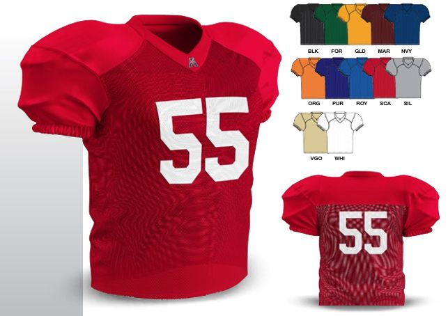 2d29965cba4 FJ55 COLORS  Black - Forest Green - Gold - Maroon - Navy - Orange -. Sizes   Champro Size Chart for Football Jersey. Youth ...