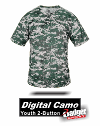YOUTH 2-BUTTON DIGITAL CAMO JERSEY BY BADGER SPORT. STYLE NUMBER 2980