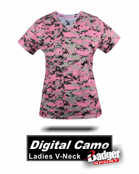 Buy ladies digital camo vneck jersey by badger sport. Style number 4186.  Product Description: 100% Sublimated polyester moisture management/antimicrobial performance fabric - Badger sport shoulder for maximum movement - Self-fabric collar - Double-needle hem Badger heat seal logo on left sleeve   Sizes: Women Sizes: XXSmall - XSmall - Small - Medium - Large - XL - 2XL   Available Colors: Black/Digital - Navy/Digital - Pink/Digital - Red/Digital - Royal/Digital - Sand/Digital - White/Digital.