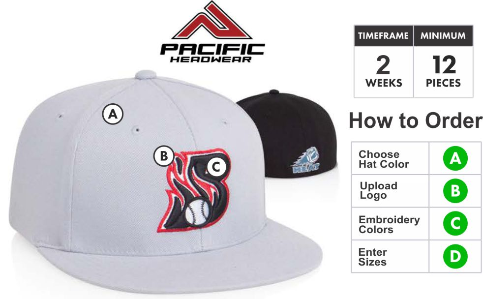 8D5 D-Series Universal Fitted Cap with 3D Custom Embroidery by Pacific  Headwear FREE SHIPPING