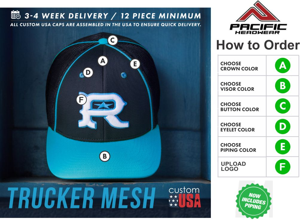 ff5b0a645a8e4 ... Trucker Mesh Hat by Pacific Headwear with 3D Custom Front Embroidery.  CONTENT   INFORMATION Since our company began in the Summer of 1998