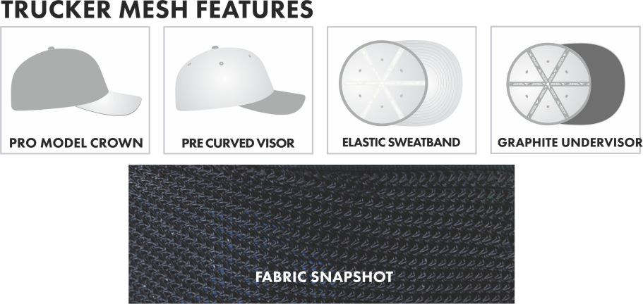 PACIFIC CUSTOM HATS TRUCKER MESH HAT 904M FEATURES.