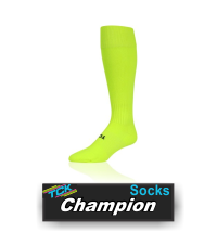BUY CHAMPION SOCKS BY TCK. (PCM81, PCM10, PCM13) This lightweight multi-sport sock boasts TCK proDRI, embedded antimicrobials to control bacteria and odor, and compression zones in the arch and ankle to help reduce fatigue.  IMAGE FILES  Champion - Neon Yellow  Double click on above image to view full picture Zoom Out Zoom In MORE VIEWS  Champion - Neon Yellow Champion - Scarlet Champion - Purple Champion - Dark Green Champion - Gold Champion - Custom 1 Champion - Custom 2 Champion - Custom 3 Product Description  This lightweight multi-sport sock boasts TCK proDRI, embedded antimicrobials to control bacteria and odor, and compression zones in the arch and ankle to help reduce fatigue.   Technologies:  Design Features: TCK proDRI insulates and manages moisture Infused Alphasan® antimicrobials control bacteria and odor Heel/toe construction Double welt top for comfort and fit Ergonomic cushioning provides impact absorbency Arch and ankle compression zones help reduce fatigue Smooth toe seam for comfort and fit Available Colors: Black Columbia Blue Dark Green Gold Grey Kelly Maroon Navy Neon Yellow Orange Purple Royal Scarlet White Available Sizes: Medium (Men: 6-9 / Women: 7-10) Large (Men: 9-12 / Women: 10-13) X-Large (Men: 12-15) Popular Uses: Baseball Football Softball / Fastpitch Volleyball Sock Contents: 75% Polypropylene 13% Nylon 9% Elastic 3% Lycra® Spandex Care Instructions: Twin City products are best preserved when machine washed and dried on low heat. NO BLEACH Launder inside out to prevent pilling and fuzzing.
