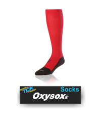 BUY OXYSOCKS COMPRESSION SOCKS BY TCK. (OXY61, OXY81, OXY10, OXY13) Oxysox are great all-around graduated compression socks that can regulate temperature, provide insulating support while stimulating circulation, and aid in recovery following periods of intense outdoor activity.  IMAGE FILES   Oxysox - Scarlet  Double click on above image to view full picture Zoom Out Zoom In MORE VIEWS  Oxysox - Scarlet Oxysox - White Oxysox - Royal Oxysox - Black Oxysox - Navy Product Description  Patented Oxysox® stimulate circulation in the foot and ankle with graduated compression that tapers off as the sock extends up the leg; ergonomic sole cushioning provides added comfort and protection.   US Patents: 5,898,948 / 6,032,296 / 6,173,452 Technologies:  Design Features: Patented graduated compression (12-15 mmHg in the ankle tapering off to 9-12 mmHg over the calf) translates into:  higher VO2 max, faster recovery, less fatigue, and protection against cramps Increases blood flow from lower extremities Heel/Toe construction Double welt top for comfort and fit Ergonomic cushioning provides impact absorbency Mesh instep aids in breathability Foot compression reduces fatigue and aids circulation Infused Alphsan® antimicrobials control bacteria and odor Inherently lightweight and breathable polypropylene equals superior moisture management Uniquely engineered fiber content enhances performance without compromising resilience Smooth toe seams adds comfort Available Colors: Black Navy Royal Scarlet White Available Sizes: Small (Men: 3-6 / Women: 4-7) Medium (Men: 6-9 / Women: 7-10) Large (Men: 9-12 / Women: 10-13) X-Large (Men: 12-15) Popular Uses: Basketball Football Running/Training Snowboarding/Skiing Track and Field Volleyball Sock Contents: 46% Polypropylene 38% Coolmax® Cordura® 12% Nylon 4% Lycra® Spandex Care Instructions: Twin City products are best preserved when machine washed and dried on low heat. NO BLEACH Launder inside out to prevent pilling and fuzzing.