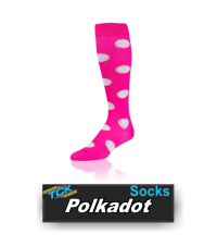 BUY POLKADOT SOFTBALL SOCCER SOCKS BY TCK. (LPPD6, LPPD8) These Krazisox with TCK proDRI feature our popular polkadot pattern in a variety of colors.  IMAGE FILES   Krazisox Polkadot - Neon Yellow/Black  Double click on above image to view full picture Zoom Out Zoom In MORE VIEWS  Krazisox Polkadot - Black/LimeKrazisox Polkadot - Black/Hot PinkKrazisox Polkadot - Black/WhiteKrazisox Polkadot - Hot Pink/WhiteKrazisox Polkadot - Navy/WhiteKrazisox Polkadot - Neon Yellow/BlackKrazisox Polkadot - Royal/WhiteKrazisox Polkadot - Scarlet/WhiteKrazisox Polkadot - White/Hot Pink/BlackKrazisox Polkadot - White/BlackKrazisox Polkadot - White/NavyKrazisox Polkadot - White/RoyalKrazisox Polkadot - White/Scarlet Product Description  These Krazisox with TCK proDRI feature our popular polkadot pattern in a variety of colors.    Technologies:  Design Features: Heel/Toe construction Double welt top for comfort and fit Flat-knit body for ultra-lightweight support Smooth toe seam adds comfort Available Colors Black/Lime Black/Hot Pink Black/White Hot Pink/White Navy/White Neon Yellow/Black Royal/White Scarlet/White White/Hot Pink/Black* *size medium only  White/Black White/Navy White/Royal White/Scarlet Available Sizes: Small (Men: 3-6 / Women: 4-7) Medium (Men: 6-9 / Women: 7-10) Popular Uses: Casual Wear Cheerleading Volleyball Contents: 77% Polypropylene 17% Nylon 3% Elastic 3% Lycra® Spandex Care Instructions: Twin City products are best preserved when machine washed and dried on low heat. NO BLEACH Launder inside out to prevent pilling and fuzzing.
