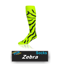 BUY ZEBRA SOFTBALL AND SOCCER SOCKS BY TCK. Style: LPZ61, LPZ81 - Krazisox Zebra  Krazisox Zebra - Neon Yellow/Black  Double click on above image to view full picture Zoom Out Zoom In MORE VIEWS  Krazisox Zebra - Black/WhiteKrazisox Zebra - Neon Yellow/BlackKrazisox Zebra - White/Black Product Description  Features: Moisture Control Blister Control Lightweight Double Welt Top Heel/Toe Design Colors Black/Gold Black/Orange Black/Scarlet Black/White Hot Pink/Black Neon Yellow/Black White/Black Sizes: Small (Men: 3-6 / Women: 4-7) Medium (Men: 6-9 / Women: 7-10) Ideal Uses: Fastpitch Soccer Spirit Wear Volleyball Custom Options: Sizing: YES Color: YES Logo: NO Contents: 77% Polypropylene 17% Nylon 3% Elastic 3% Lycra® Spandex Care Instructions: Twin City products are best preserved when machine washed and dried on low heat. NO BLEACH Launder inside out to prevent pilling and fuzzing.