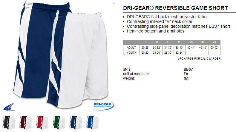eb858a6bb763 Buy Dream Dri-Gear® Reversible Game Basketball Short by Champro Sports Style  Number