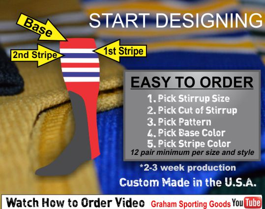 BUY CUSTOM BASEBALL STIRRUPS ONLY AT GRAHAM SPORTING GOODS WITH FREE SHIPPING. GREAT TEAM SOCKS. GRAHAM SPORTING GOODS IS THE BEST SELLER OF BASEBALL STIRRUPS IN THE COUNTRY. IF YOU HAVE ANY QUESTIONS GIVE US A CALL AT 336-852-2335