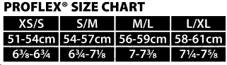 OC SPORTS PROFLEX SIZE CHART FOR BASEBALL TEAM HATS AT GRAHAM SPORTING GOODS.